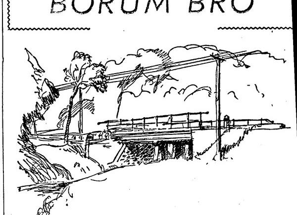 Stillingvej gik oprindelig helt ned til broen over åen. Tegning 1956: Asger Muchitsch